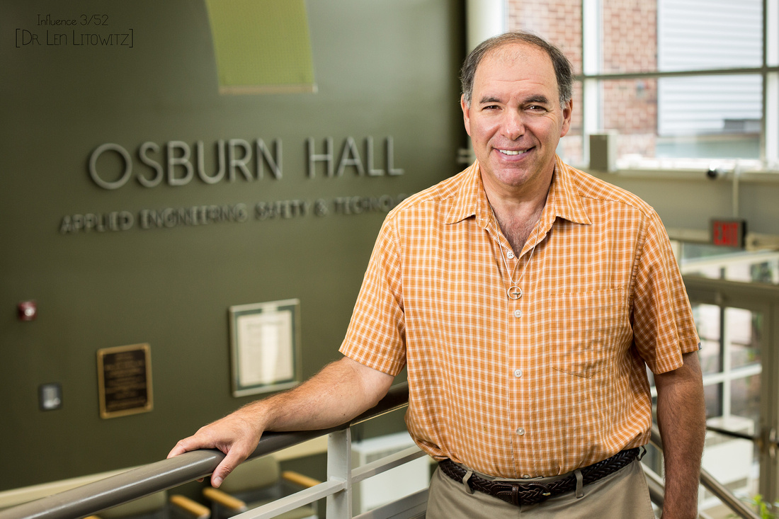 Dr. Litowitz standing in Osburn Hall - our Applied Engineering, Safety & Technology building.